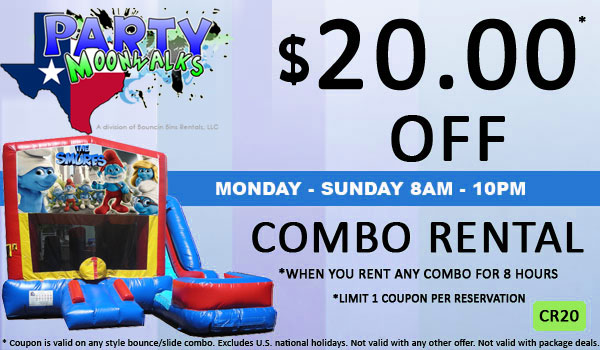 Save $20.00 of an inflatable bounce and slide combo rental in Houston